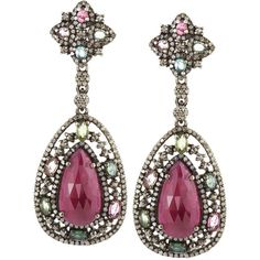 Bavna Multi-Tourmaline Teardrop Earrings