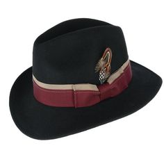 83e83d0a23b This sharp fedora hat features a wide striped grosgrain hatband with  removable feather and bow.