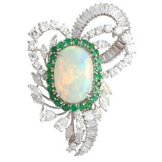 Crystal Opal, Emerald, and Diamonds in platinum Brooch Clip