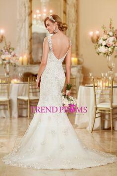 2016 vestidos de novia correas de la sirena de Tulle Corte apliques de tren US$ 319.99 TDPLQ4M2XT - TrendProms.com for mobile