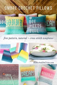 """Paint your perfect palette with this easy ombre crochet pillow pattern made from Lion Brand Mandala yarn cakes. Three strands held together creates a chunkier look while the """"cross stitching"""" on the crochet fabric let's you personalize the cushions. Free pattern and tutorial! #makeanddocrew #freepattern #tutorial #lionbrand #mandalayarn #crochet via @makeanddocrew"""
