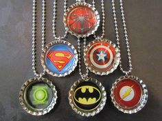 Super Hero /   Bottle Cap Party favors (6) / Spiderman / Superman / Captain America / Batman / Flash / Green Latern. $12.00, via Etsy.