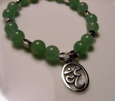 OM Tibetan Silver Om - Green Aventurine Handcrafted Well-Being Bracelet  by Cheryl's Healing Gems, $25.00