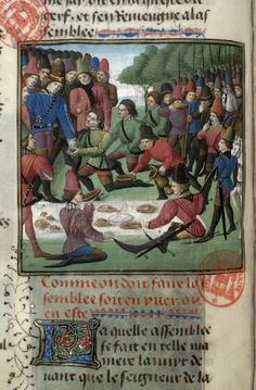 Feast at a hunt. Gaston Phoebus. Book of hunting. Before 1476, French. Paris, Bibl. Mazarine, ms. 3717, f. 53v
