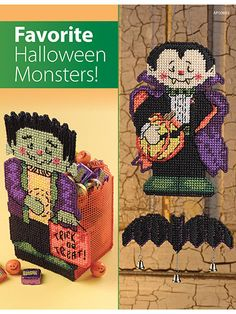 """Hand out treats this Halloween in this scary Frankenstein candy box while Dracula floats in the breeze! Each design is made using 7-count plastic canvas and #4 worsted-weight yarn. Monster Treat Box is 4"""" x 5 ½"""" x 9 3/4""""T; Batty Belfry... Plastic canvas patterns for Halloween (aff link)"""