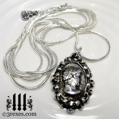 Ghost Cameo Necklace HAUNTED Silver Victorian by 3RexesJewelry, $205.00