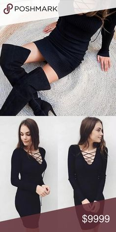COMING SOON Black lace up sweater dress! Totally hot, especially with some high boots! Perfect for the upcoming season! Dresses Mini