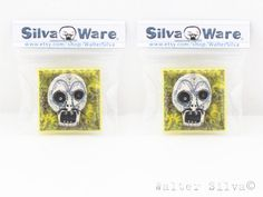 Set of 2 Dia de los Muertos Skull Game Tile Magnets by WalterSilva, $6.00