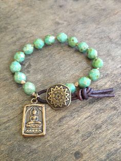 """Bohemian Knotted Turquoise & Bronze Leather Bracelet """"Boo Chic"""" $30.00 via Etsy"""