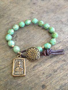 "Bohemian Knotted Turquoise & Bronze Leather Bracelet ""Boho Chic"""