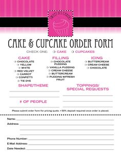Home Bakery Cake order form Fresh Cake order Contract Home Bakery Business, Baking Business, Cake Business, Business Planner, Business Tips, Cupcake Shops, Cupcake Cakes, Cupcake Prices, Cake Chart