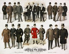 Men's Fashion Print American Gilded Age advertisement for, The Herald of Fashion Company, NYC - August, Fall and Winter - New York Fashion for men. Victorian Mens Fashion, 1890s Fashion, Men's Fashion, Hipster Fashion, Mode Masculine, Historical Costume, Historical Clothing, Men's Clothing, New York Fashion