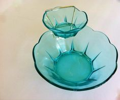 Vintage Anchor Hocking Glass Chip and Dip 3 by TazamarazVintage