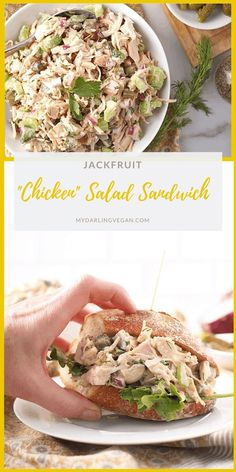 A Vegan Chicken Salad everyone will love. This traditional salad is made with green jackfruit and mixed with celery, onions, and pickles for a healthy twist on a classic salad. Soy and gluten-free! Jackfruit Chicken, Jackfruit Sandwich, Jackfruit Recipes, Jackfruit Tuna Salad, Jackfruit Dishes, Vegan Recipes Plant Based, Veg Recipes, Whole Food Recipes, Cooking