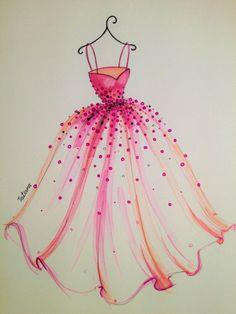 ORIGINAL vestido rosa la ilustración de moda por loveillustration