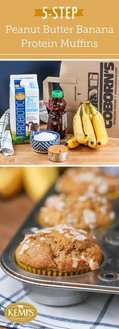 These 5-Step Peanut Butter Banana Protein Muffins may look like ordinary breakfast treats but they actually boast digestion benefits—all thanks to Kemps® Probiotic Milk! Serve up good-for-you ingredients to your family by checking out this recipe for fruit-filled bites. Your kids are sure to agree that there's nothing better to start your day than with these nutrient-packed treats!