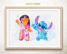Disney Lilo & Stitch Watercolor Art Poster Print - Home Decor - Watercolor Painting - Kids Decor - Wall Art - Nursery Decor - 189 by MarcoFriend on Etsy https://www.etsy.com/listing/237810939/disney-lilo-stitch-watercolor-art-poster