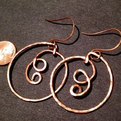 Copper Wire Work Earrings by VeliseJewelry on Etsy, $18.00