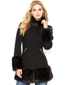 GUESS Stand-Collar Faux-Fur Trim Coat