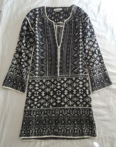 ~ ISABEL MARANT BLACK & WHITE WOVEN BLOOM TUNIC DRESS (BOHEMIAN CHIC!) ~ S #IsabelMarant #TUNIC