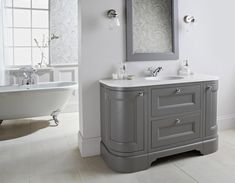 In search of timeless luxury? This classic Tetbury vanity unit is elegantly designed with curved doors, a hand sprayed painted finish and provides ample storage for the whole family. Enjoy 29% OFF the set including worktop with integrated basin and hardware until June 30.  #SALE #Irishbusiness #bathroomfurniture #bathroomdesign Bathroom Vanity Units, Bathroom Furniture, Classic Collection, Timeless Design, Basin, The Unit, Luxury, Storage, June 30