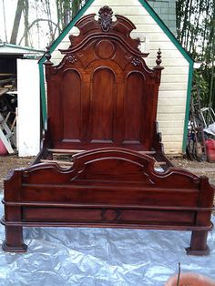 1800's Antique Hand Carved Solid Mahogany Victorian Bed
