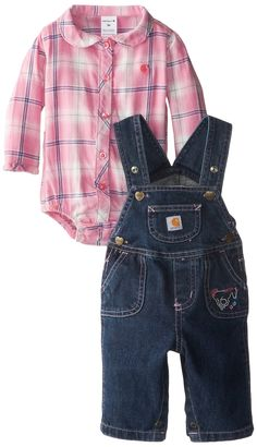Carhartt Baby-Girls Infant Washed Denim Bib Overall Set, Medium Wash, 3 Months