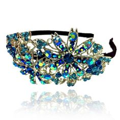 Prom Collection Crystal Romance Head Band Blue Flower - 4EverBling