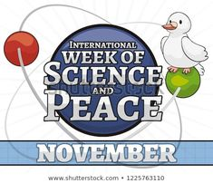 Cute playful dove orbiting an atomic nucleus, a symbol of peace and science during the celebration of International Week of Science and Peace in November. Presentation Templates, Celebration, November, Royalty Free Stock Photos, Symbols, Science, Peace, Ads, Cute