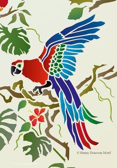 The Tropical Bird Parrot Theme Pack Stencil with tropical and exotic hibiscus and foliage, great for decorative stencil style for walls, furniture, fabrics. Bird Stencil, Animal Stencil, Damask Stencil, Stencil Patterns, Stencil Designs, Stencils, Faux Painting, Stencil Painting, Fabric Painting