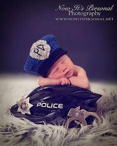 Crochet PATTERN Baby Police Man Hat...Such a great idea! I need this!