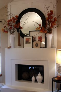 more layering very judiciously and tastefully done. Layering and placement are key to a pleasing stylish and balanced mantel display. Nice layering and texture in this vignette. Home Fireplace, Faux Fireplace, Fireplace Remodel, Fireplace Design, Brick Fireplaces, Home And Deco, Fall Decor, Farmhouse Decor, Living Room Decor