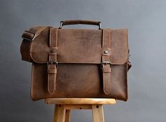 Dark gray Leather bag Genuine leather canvas bag/ by weiweihe