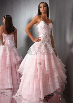 Prom Dresses Quinceanera Dresses Sweetheart Halter Asymmetrical Embroidery With Beadingwork , You will find many long prom dresses and gowns from the top formal dress designers and all the dresses are custom made with high quality Pink Gowns, Colored Wedding Dresses, Pink Dress, Wedding Gowns, Dress Up, Bride Dresses, Beautiful Gowns, Beautiful Outfits, Quinceanera Dresses