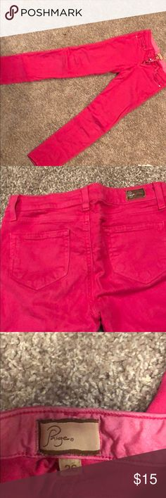 Paige Denim Pink Jeans These jeans are a size 26 bright pink color from Paige premium denim. They are worn but just slightly. Great for a night out or just to be fun and girly! PAIGE Jeans Skinny