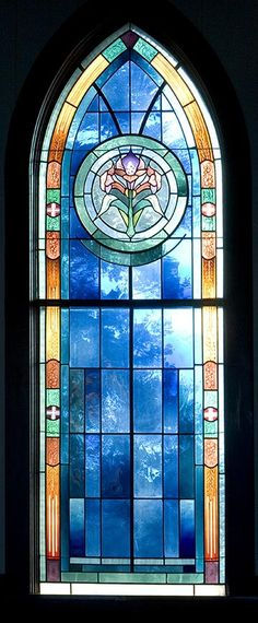 A Stained Glass Window inside the Genesee Valley Lutheran Church that is located in Iowa - via Raising Jane Journal