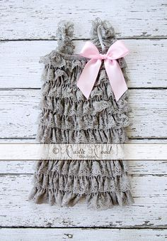 Grey Lace Romper - CHOOSE BOW COLOR(S) - Ruffle Romper, Baby Girl 1st Birthday Outfit, Vintage Flower Girl, Rustic Lace Romper, 3Mo - 8Yr by RusticRoadBoutique on Etsy https://www.etsy.com/listing/193061643/grey-lace-romper-choose-bow-colors