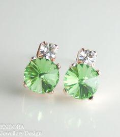 Peridot Rose Gold Swarovski crystal earrings by #EndoraJewellery, $20.00