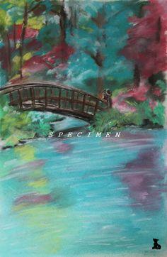 Dessin paysage Petit Pont, au pastel sec : Peintures par badoualmorgane