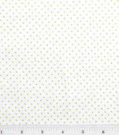 """Snuggle Flannel Fabric-White/Green Dot, , hi-res - 100% Cotton - 42"""" wide - $4.19"""