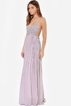 4ece01aca5c Sexy V Neck Spaghetti Strap Sleeveless Backless Lace Patchwork High-waist  Purple Chiffon Ankle Length