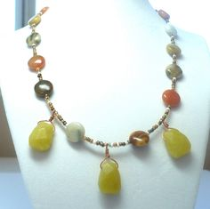 Yellow Jade Faceted Multicolored Jade Beaded Necklace. $35.00, via Etsy.