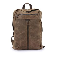 Waxed canvas backpack, Backpack for man, Canvas Bag with Leather Trim, – Unihandmade