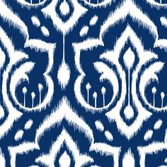 Ikat Damask - Midnight Navy fabric by pattysloniger on Spoonflower - custom fabric