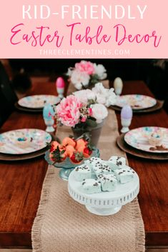 Kid-Friendly Easter Table Decor + Rice Krispie Nest Recipe - Three Clementines, #ad Easter recipe, Easter decor, #tablescapes #easterrecipes #easterdecor #tablescapeideas #eatlifeup @albertsons