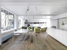 contemporary loft decor minimalist style white kitchen wood floor