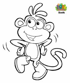 Boots Coloring Page Print Your Dora The Explorer Pages Free Color