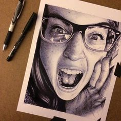 Ballpoint Pen Sketch by Morgan Davidson, via Behance