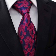 #Designer-#Krawatte-#Einstecktuch-100#Seide-#rot-#blau-#schwarz-#paisley-7 Euro