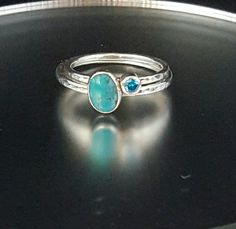 Silver Stacking Rings - Turquoise Ring - Promise Ring - Statement Ring - Gemstone Ring - pinned by pin4etsy.com